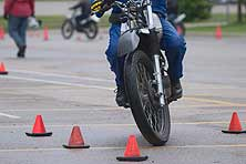 Motorcycles with training cones